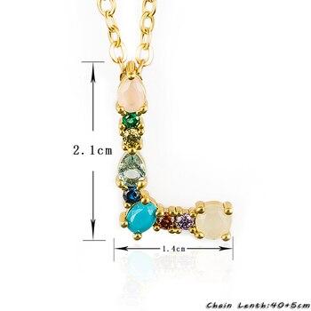 Multicolor Fashion Charm Gold 26 Alphabet Pendant Necklace Micro Pave Zircon Initial Letter Necklaces Couple Name 2
