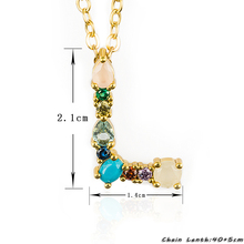 Multicolor charm Gold pendant initial 26 letter necklace SF