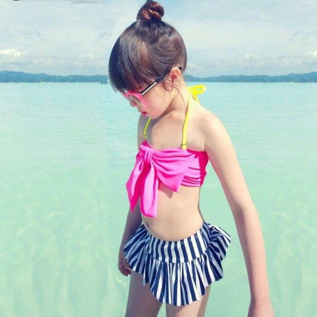 SME DHL Livraison Gratuite Kid Élégant Grand Filles Bande Arc Bikini Maillot de Bain swimhat beachwear D'été Style 3 12 ans dans Maillots de bain de Mère et Enfants