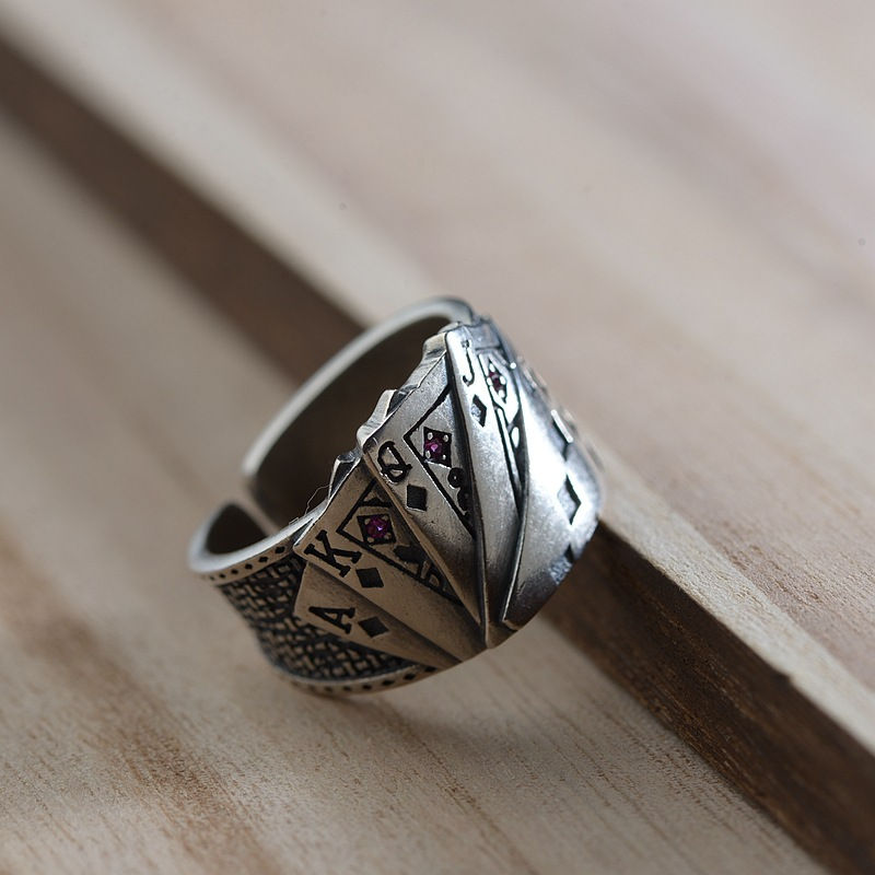 FNJ 925 Silver Poker Ring New Fashion Punk S925 Sterling Silver Rings for Women Jewelry Adjustable Size
