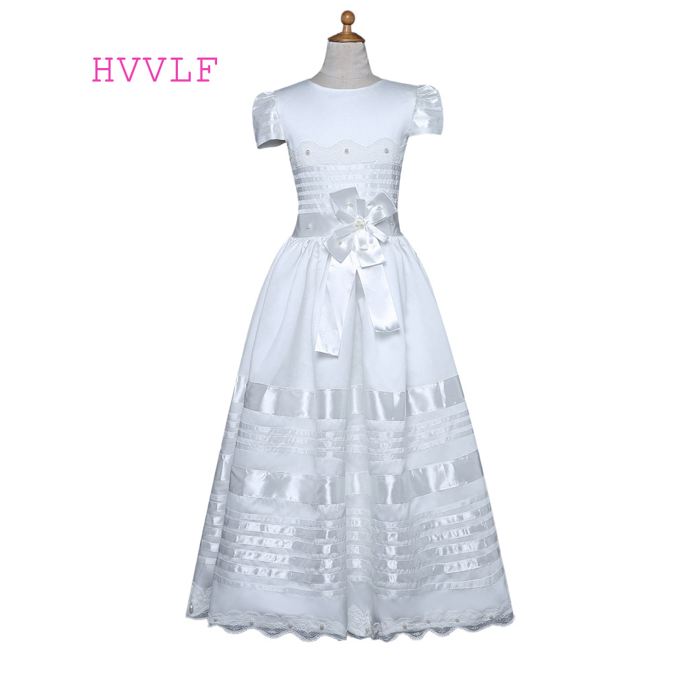 White 2018   Flower     Girl     Dresses   For Weddings A-line Cap Sleeves Lace Pearls Bow First Communion   Dresses   For Little   Girls