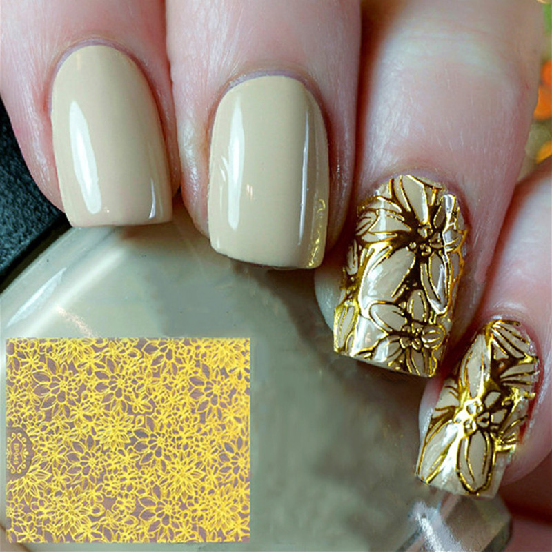 1PCS Embossed 3D Nail Stickers Metallic Flowers Nail Art Stickers Decals Nails Art Decoration Tips Water Transfer Nail Decals in Stickers Decals from Beauty Health