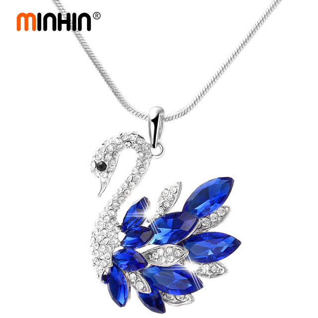 MINHIN Luxury Swan Necklace Silver Plated Snake Chain Long Necklace&Pendant  Sweater Chain Statement Necklaces For Women