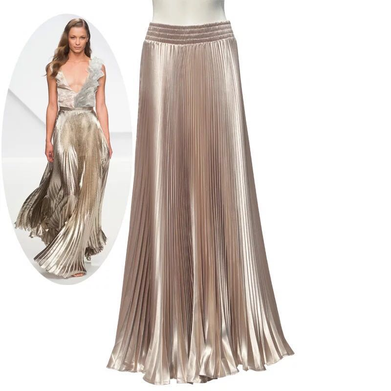 Summer 2019 Womens New Arrival Designer Elegant Ladies Elastic Waist  Pleated Beach Maxi Skirt Gold Sequined 7402a473e04c