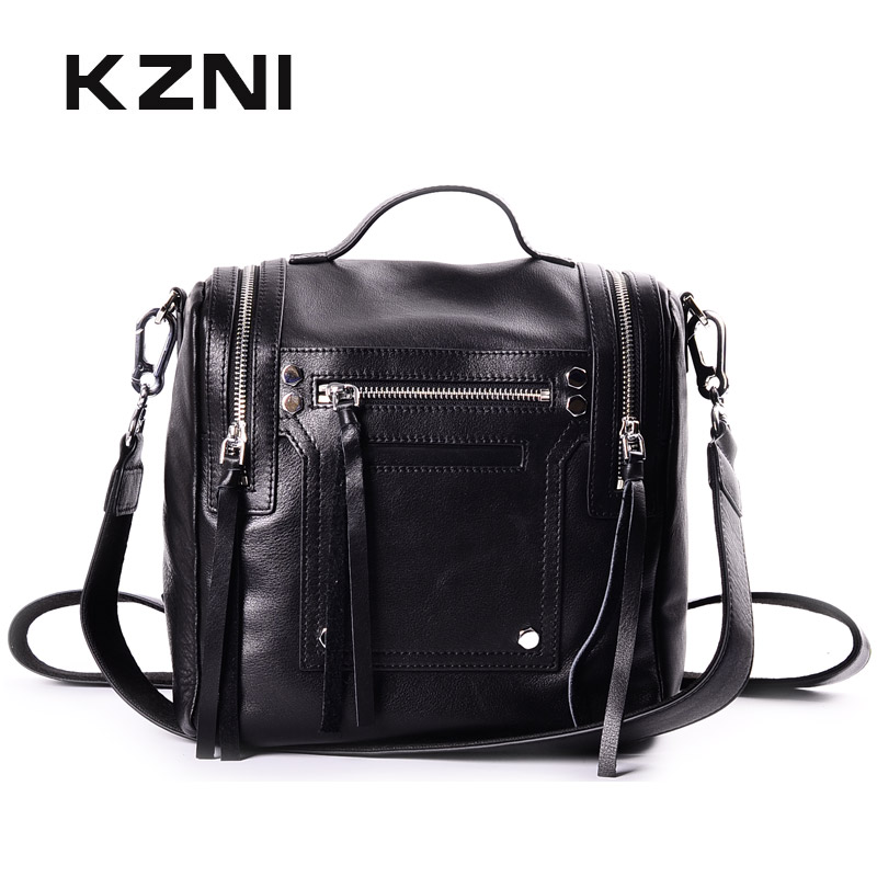 KZNI Genuine Leather Luxury Backpack Teenage Backpacks for Girls Fashion Black Backpack Women Sac a Dos Femme 2017 1438-1439 ranhuang brand new 2017 high quality women genuine leather backpack women s luxury backpack fashion bags for teenage girls a871