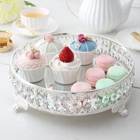Free shipping diameter 31cm round metal serving tray storage tray crystal tray glass mirror tray for home decoration
