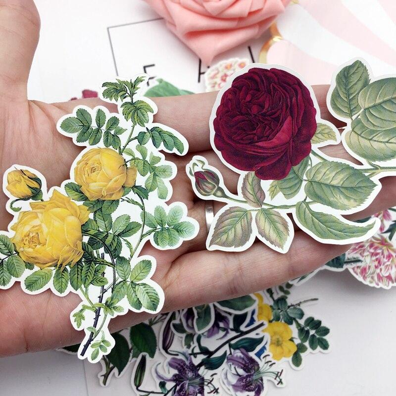 Купить с кэшбэком 15pcs Hand Drawing Watercolor Retro big  flower sticker Decorative Stickers for Notebook Planner Scrapbooking, DIY Paper Sticker