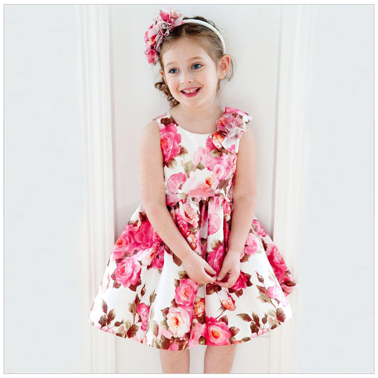 95cb027010285 Little Girls Dresses 2016 Spring Floral Print Princess Dress Girl Costume  Luxury Brand Baby Girl Dress Children Clothing Vestido