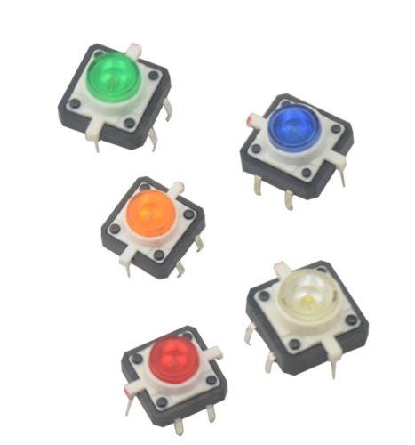5 PZ NEW 12X12X7.3 Tattile Push Button Switch Momentaneo Tact LED 5 colori5 PZ NEW 12X12X7.3 Tattile Push Button Switch Momentaneo Tact LED 5 colori