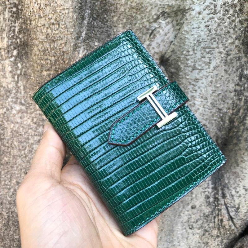 Luksusowe jaszczurka skóry kobiet portfel krótki zamek panie portmonetka kobiet posiadacz karty przypadku w Portfele od Bagaże i torby na  Grupa 2