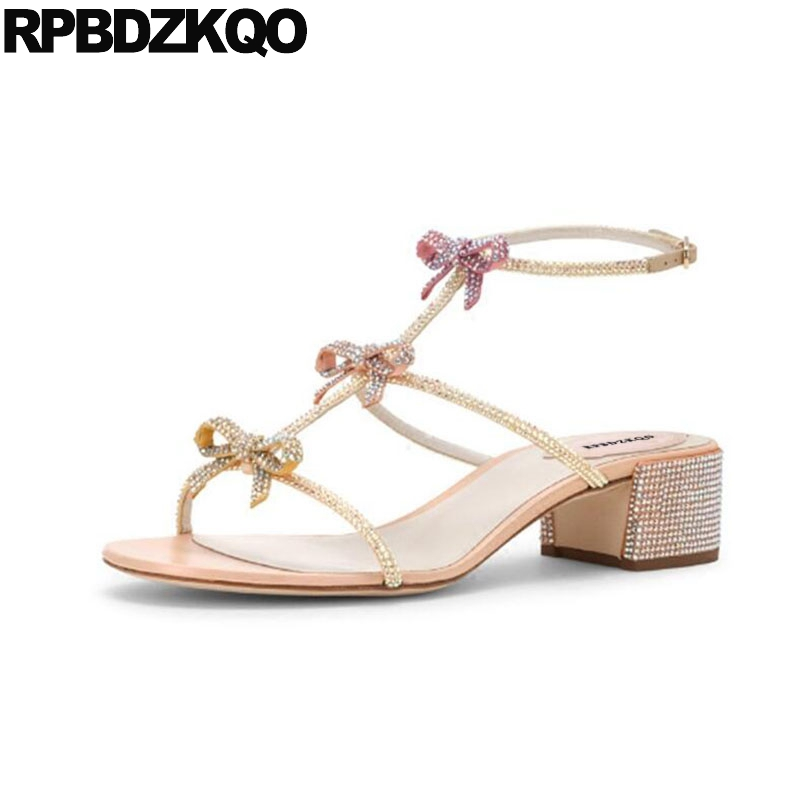 Shoes Chunky Bow Strappy Women Ankle Strap Bling Pumps Large Size Bowtie Rhinestone Gladiator Sandals Roman Cute Low Heel Thong цена 2017