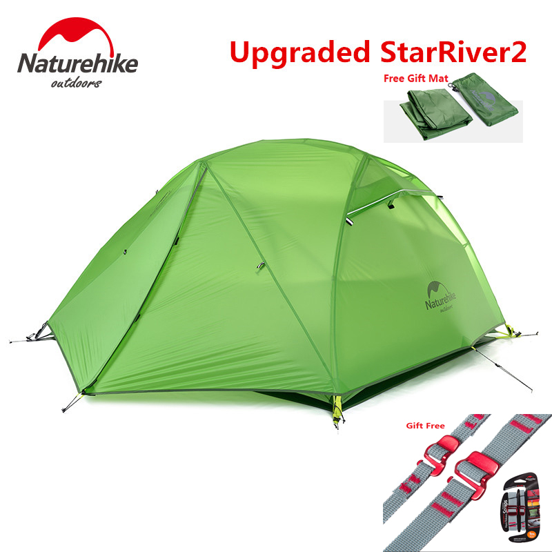 NatureHike Factory sell Starriver2 upgraded ultralight 20D Silicone Fabric Waterproof Double Layer 2 Person Outdoor Camping Tent