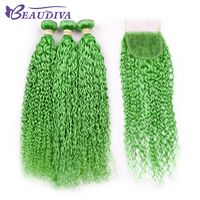 Beaudiva Afro Kinky Curly Weave Human Hair Bundles with Lace Closure GreenColor Remy Brazilian Hair Weave 3 Bundles with Closure