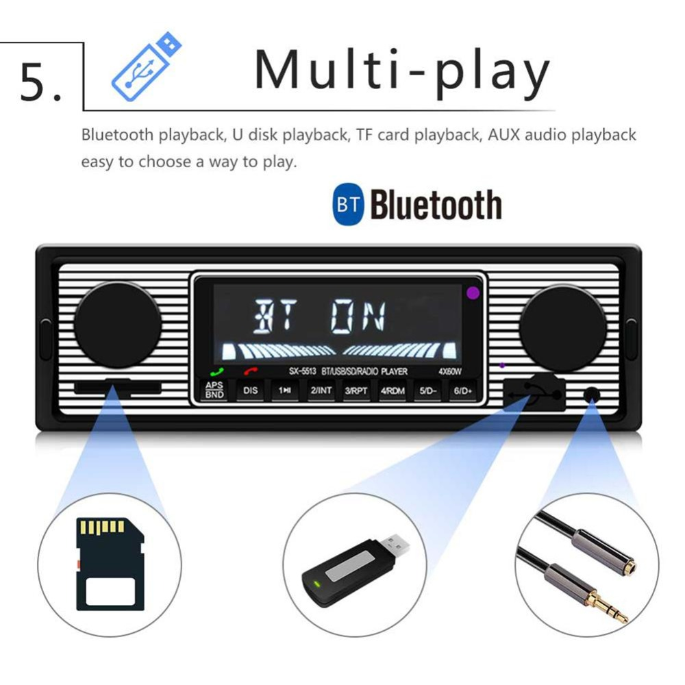 Adeeing Auto Car Radio Bluetooth Vintage Wireless MP3 Multimedia Player AUX USB FM 12V Classic Stereo Audio Player Car Electric 6