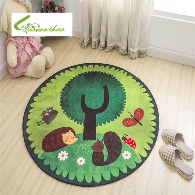 100cm Round Carpet Kids Gym Rug Cartoon Cute Mat Baby Crawling Blanket Outdoor Floor Mats Living