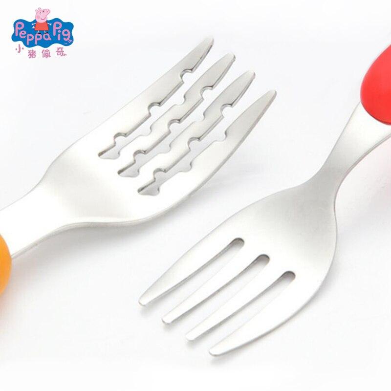 Свинка Пеппа детская столовая посуда ложка Вилка ложка набор обеденный Ланч Джордж Свинка Пеппа вечерние игрушки