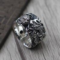 S925 Винтаж стерлингового серебра резной дракон taiyin личность Преувеличение Мужская кольцо широкое кольцо