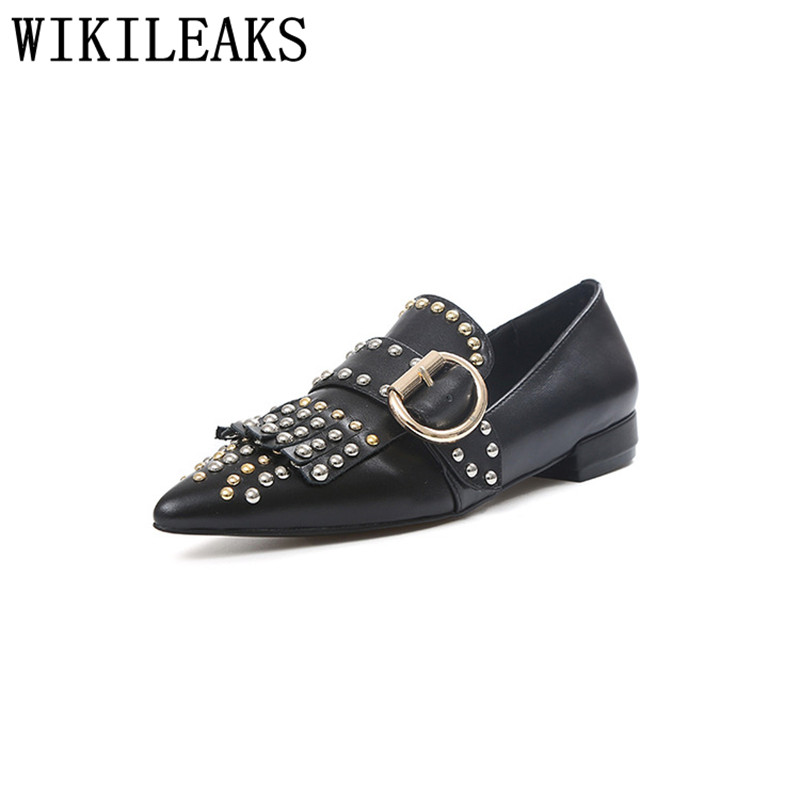 women leather flats luxury brand slip on loafers zapatillas mujer casual ladies shoes pointed toe buckle rivets sapato feminino brand fedimiro spring oxford shoes women patent leather pointed toe slip on flat loafers casual metal buckles ladies flats