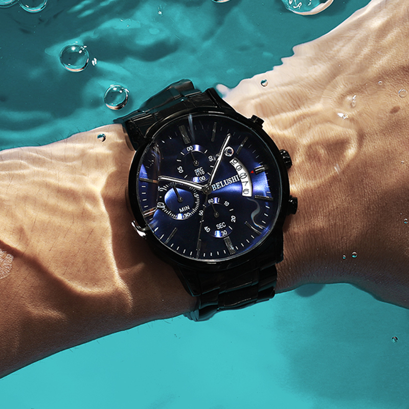 Montre pour hommes de luxe marque BELUSHI haut de gamme homme décontracté hommes étanche sport Quartz montre-bracelet relogio masculino