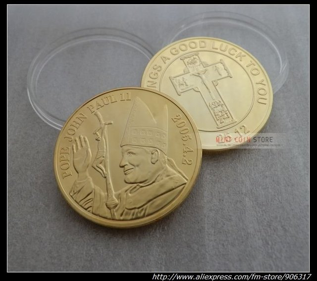 New design POPE JOHN PAUL II Gold plated coin  24pcs/lot