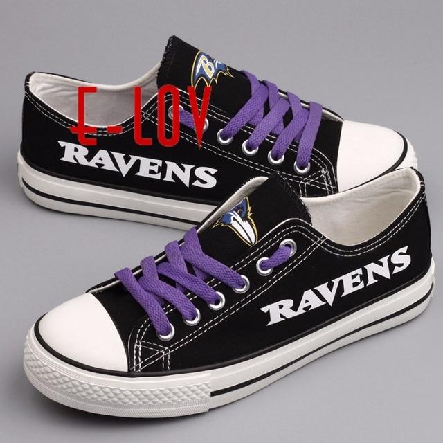 Горячие продажи Американской НФЛ Baltimore Ravens черно-белой печати холст обувь любителей обувь мужчины мальчики большой размер подгоняют граффити повседневная обувь