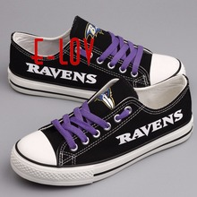 Hot sale American NFL Baltimore Ravens black print canvas shoes fans shoes men boys big size customize graffiti casual shoes