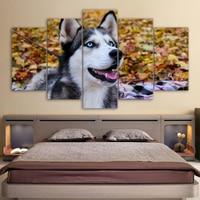 HD Stampato 5 Pezzo di Arte della Tela Pittura Blue Eyes Cane Husky Pet Immagini A Parete per Soggiorno Decorazione Libera Il Trasporto