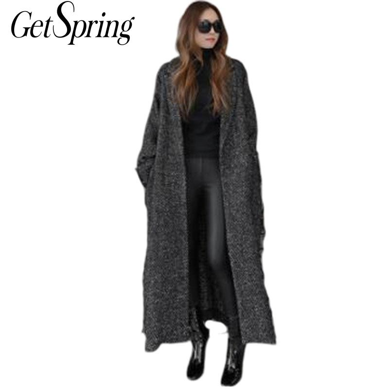 GETSRING Women Wool Coat Long Trench Coat 2017 New Winter Wool Coat  Knee Length Woolen Coat Size Loose Windbreaker Plus Size