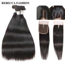 Ребекка бразильского прямые волосы 2/3 Связки переплетения человеческих волос с закрытием для парикмахерской 4×4 Синтетические волосы на кружеве 1 упак.
