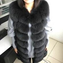 Maomaokong 88 centimetri lungo naturale della pelliccia di fox di modo della maglia senza maniche di pelliccia del cappotto del rivestimento caldo sottile femminile parco giacca
