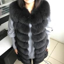 Maomaokong 88cm 긴 천연 여우 모피 조끼 패션 민소매 모피 자켓 코트 따뜻한 여성 슬림 파크 자켓