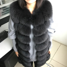 maomaokong 88cm long natural fox fur vest fashion sleeveless fur jacket coat warm female slim park jacket