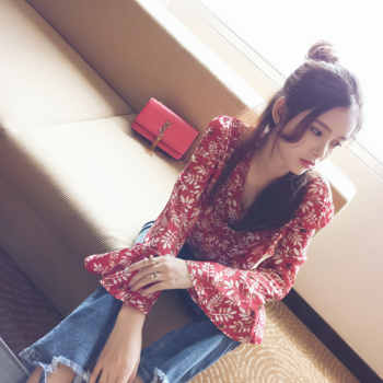 Mishow Floral Shirt Women Summer Autumn 2018 New female Red Flare Sleeve tops Long Sleeve V Neck Chiffon Blouse MX17A4805 - DISCOUNT ITEM  40% OFF All Category