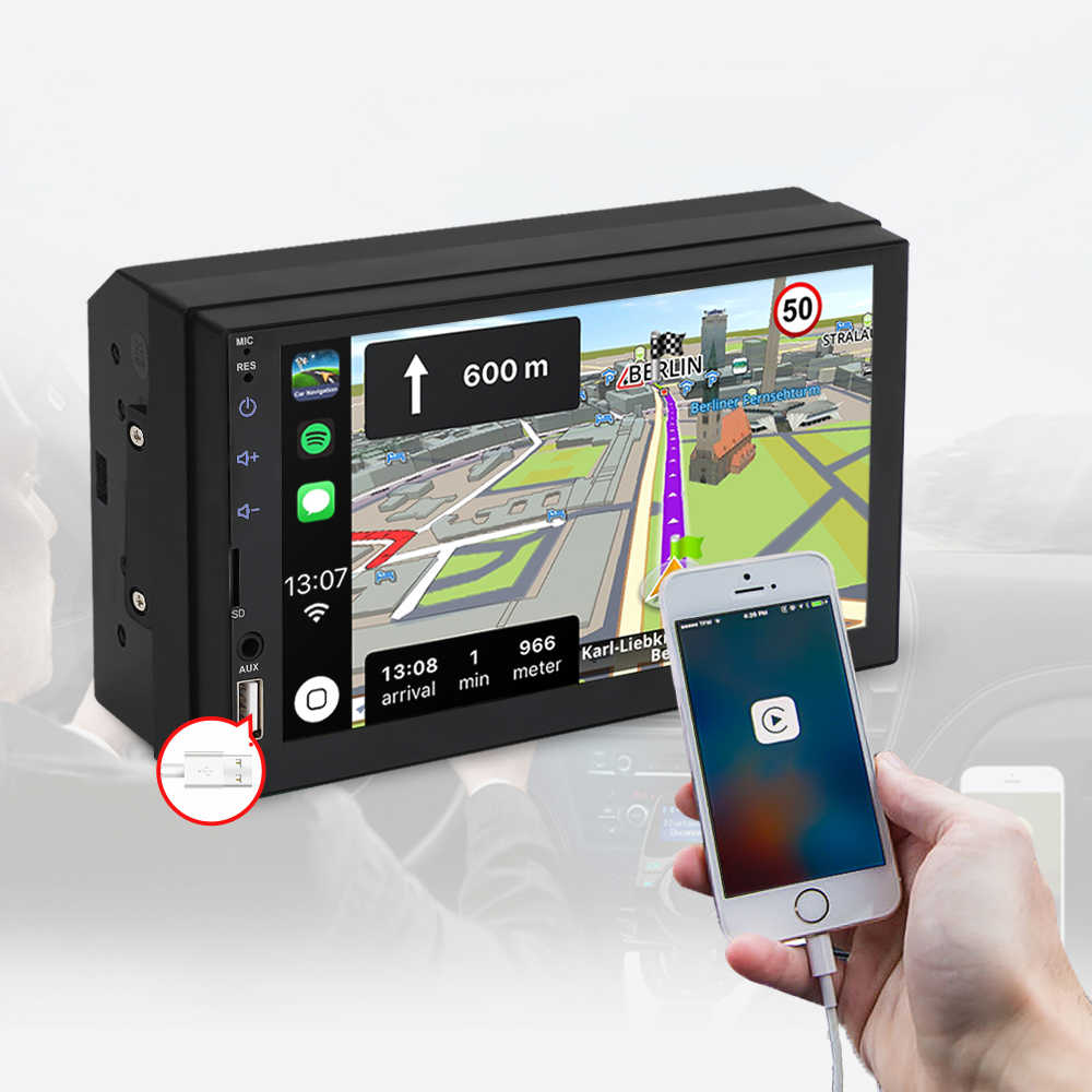 """2 din カーラジオ 7 """"hd タッチスクリーンプレーヤー android の自動 carplay マルチメディア MP5 fm/usb/aux/bluetooth カーオーディオリアカメラ用"""