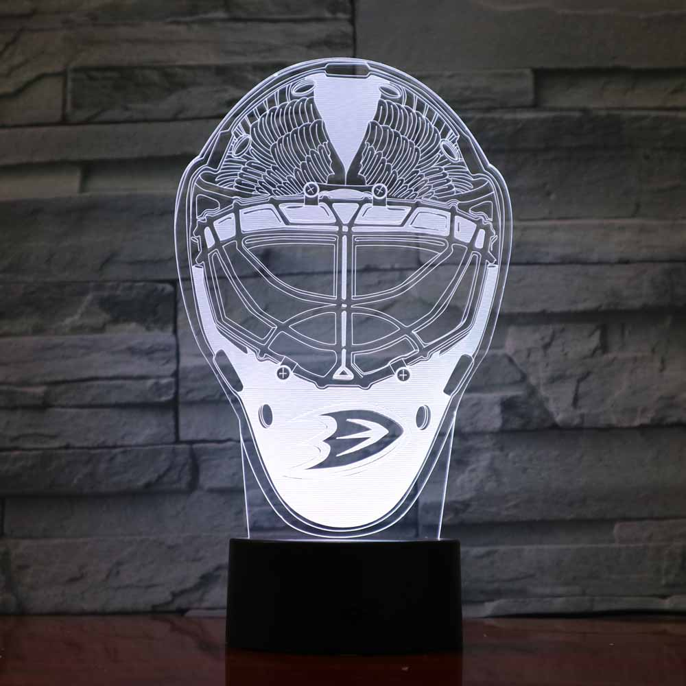 Creative 3D Ice Hockey Helmet Desk Lamp Usb Colorful Gradient Led Night Light Child Room Decor Touch Button Light Fixture Gifts 3 styles novelty lighting hockey player ice player 3d led night light touch usb lamp holiday gifts table desk light for kids
