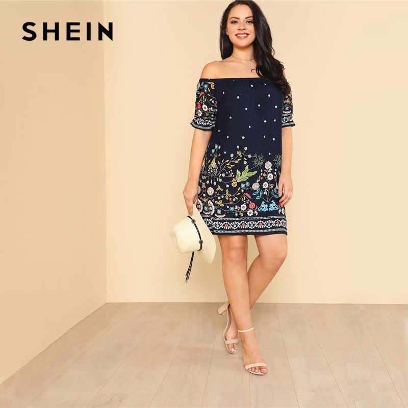 SHEIN Navy Plus Size Botanical Print Off Shoulder Cotton Dress Women 2019 Summer Beach Vacation Bohemian Midi Dresses