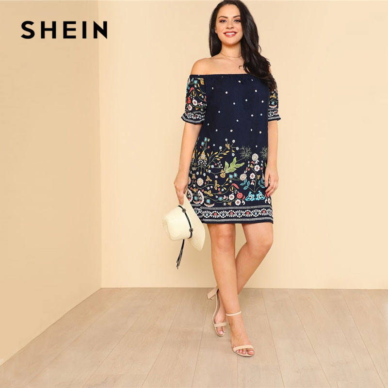 f8966072c28d44 SHEIN Navy Plus Size Botanical Print Off Shoulder Cotton Dress Women 2019  Summer Beach Vacation Bohemian