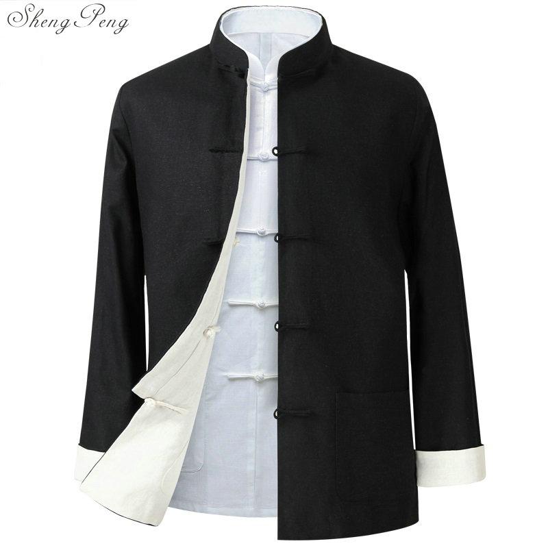 Veste traditionnelle chinoise col mandarin traditionnel tang veste col mandarin costume hommes vêtements 2018 Q600
