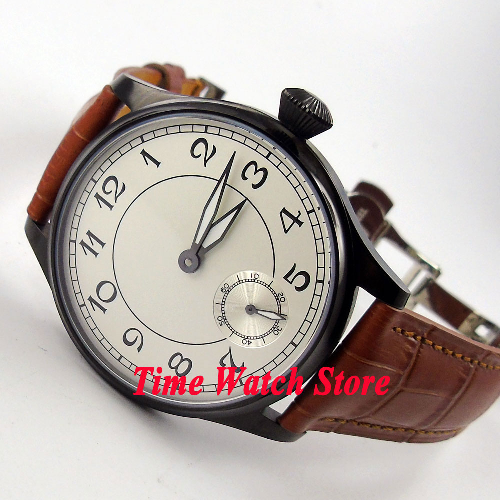 Parnis 44mm white dial luminous PVD case deployant clasp 6498 hand winding movement Men's watch 288B цена и фото