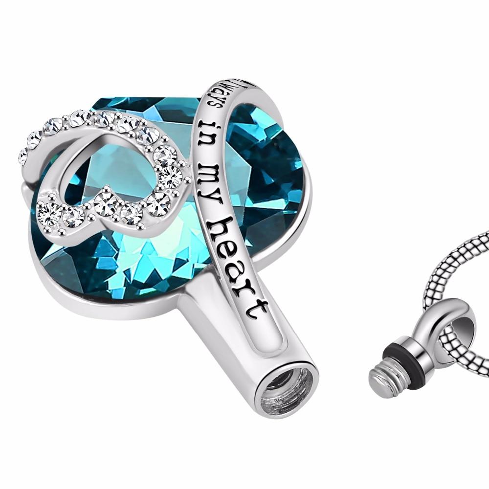 Always in my heart Locket screw Heart cremation memorial ashes urn birthstone necklace jewelry keepsake pendant 2