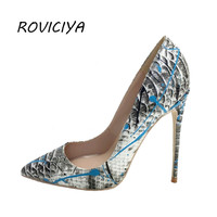 Women Shoes Blue Snake Printed Sexy Stilettos High Heels Pointed Toe 12 cm Women Pumps YG005 ROVICIYA
