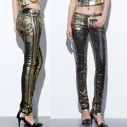 Летние осенние модные женские обтягивающие джинсовые брюки-карандаш с золотым принтом, Узкие повседневные женские джинсовые брюки