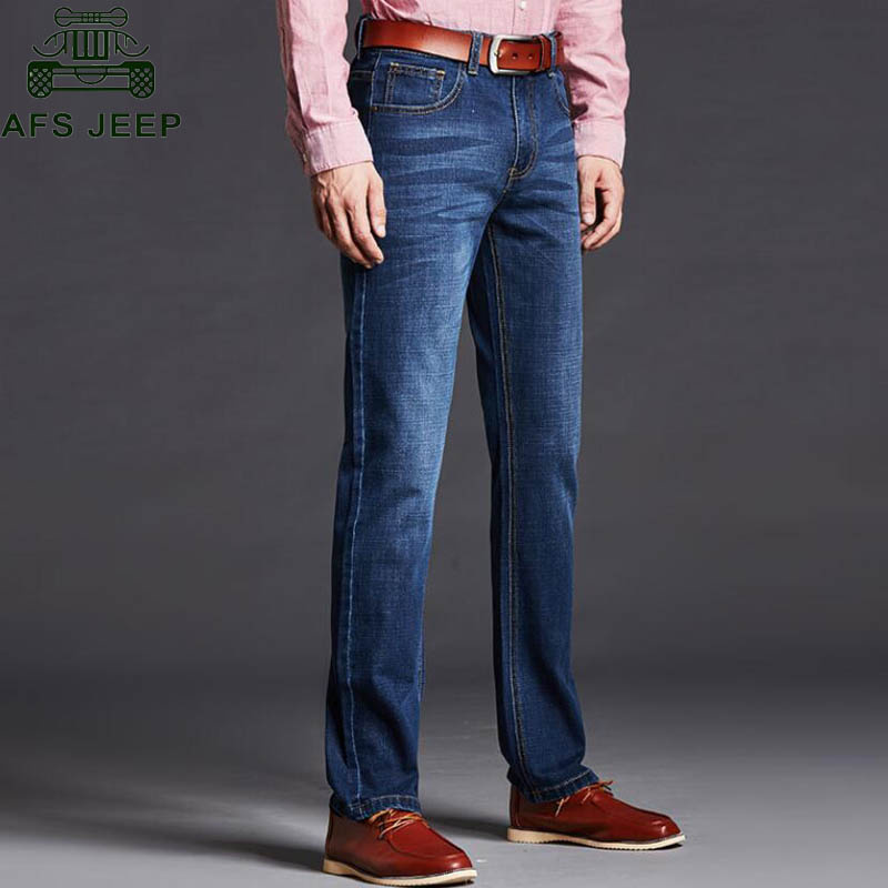ФОТО AFS JEEP 2017 Male Denim Pant Skinny Jeans Men Spring Autumn Mid-waist Straight Casual Fashion Denim Overalls Big Size 40