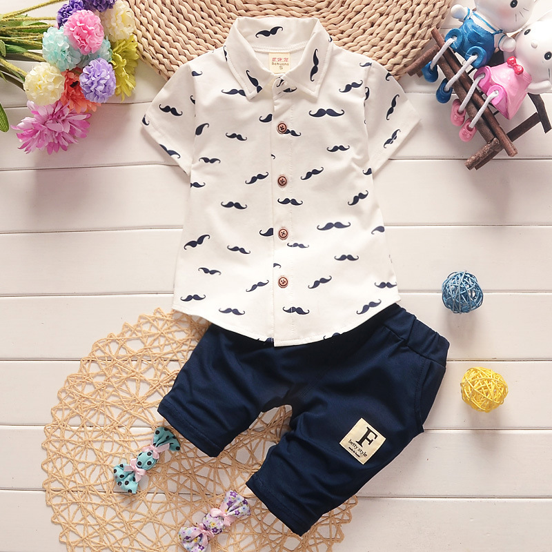 Summer Baby Boy Clothes Shirt And Pants Gentleman Style Kid Lovely Beard Lapel 2 Pcs Sets Infant Casual Suits Children Tracksuit handsome boy and summer gentleman shirt strap 2 suit factory direct