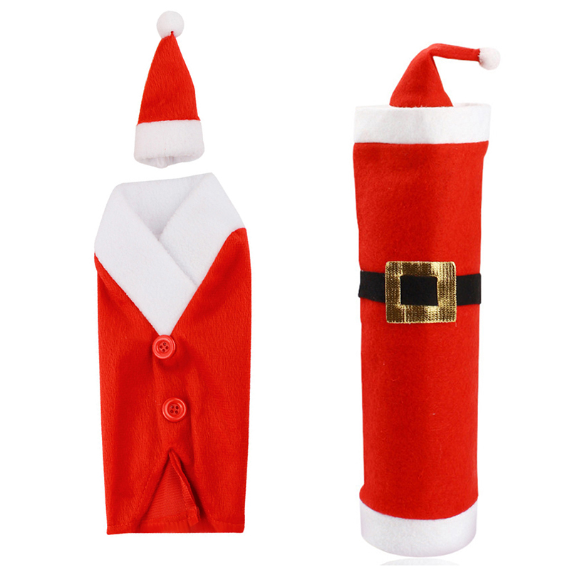 2PCS Santa Wine bags Red Wine Bottle Cover Bags Christmas Dinner Table Decoration Home Party Decors