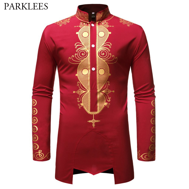 Mens Hipster African Dashiki Dress Shirts Brand Streetwear Casual Wine Red African Shirt Men Slim Long Sleeve Chemise Homme XXL