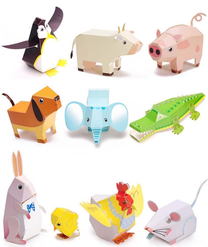 Quebra cabeça dobradura de papel DIY Animal 3D educacional