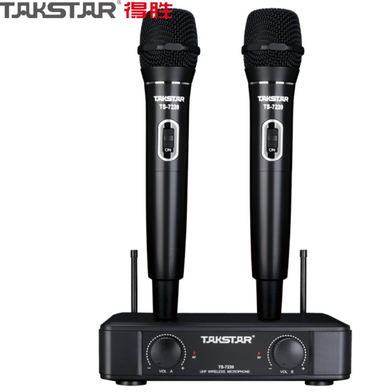 Takstar TS 7220 black color UHF Wireless Dual Handheld Microphone system for home karaoke stage performance and meeting speech-in Microphones from Consumer Electronics    1