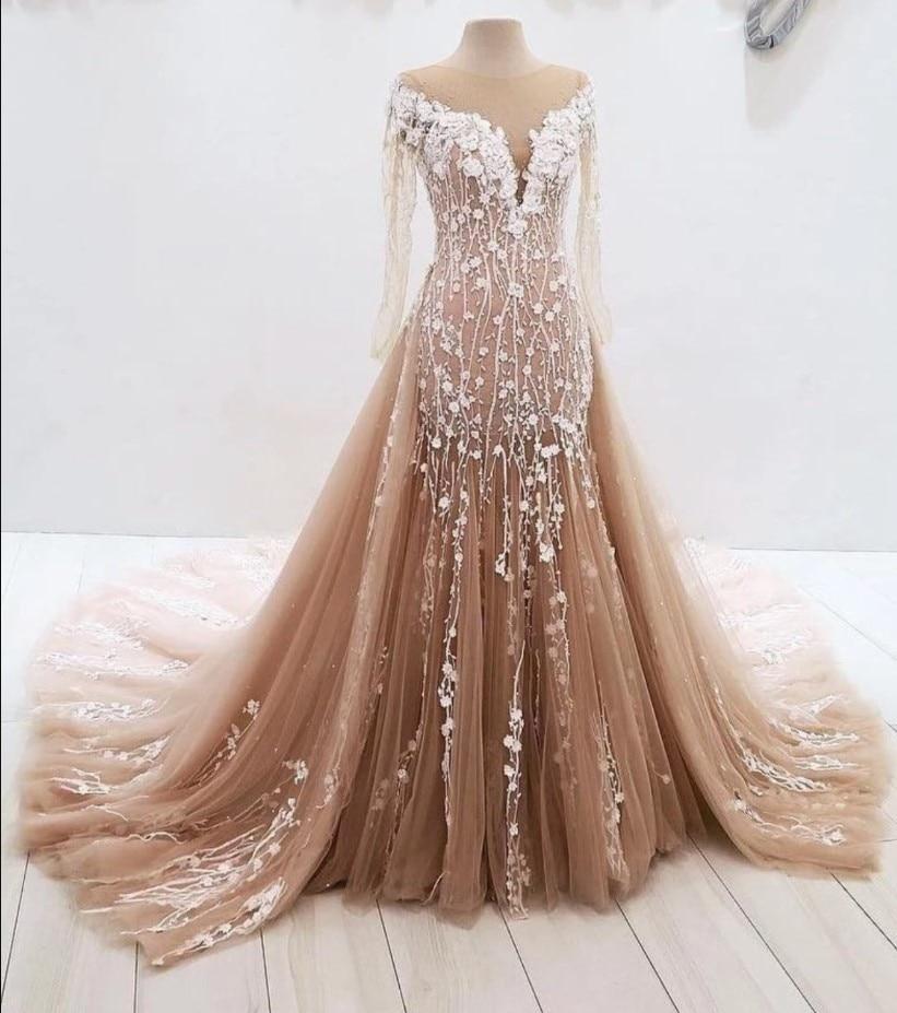 Champagne Vestido De Noiva Muslim Wedding Dresses Mermaid Long Sleeves Tulle Lace Dubai Arabic Wedding Gown Bridal Dresses