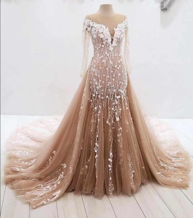 שמפניה Vestido דה Noiva 2019 מוסלמי חתונת שמלות בת ים ארוך שרוולי טול תחרה דובאי ערבית חתונת שמלת כלה שמלות